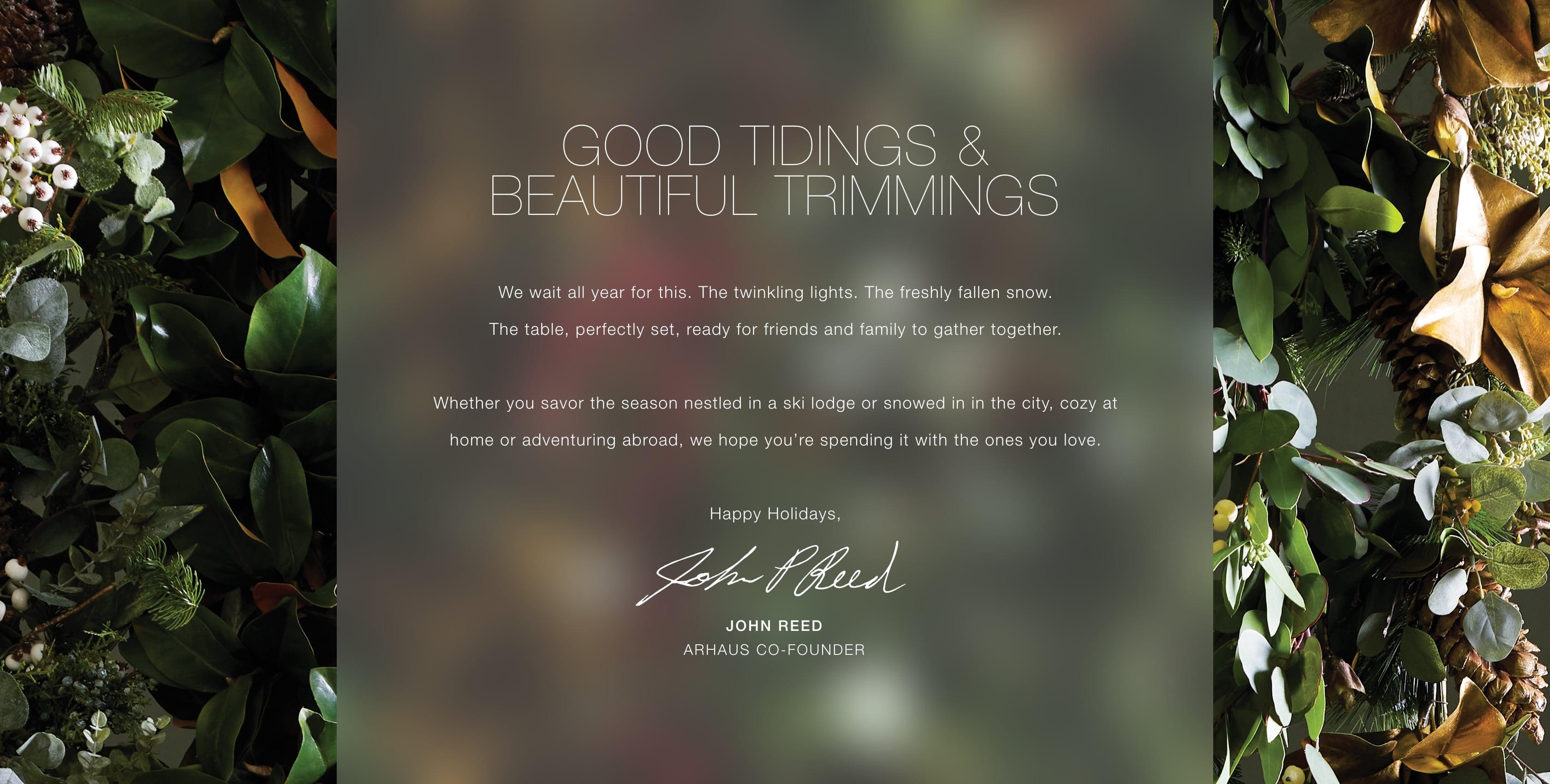 Good Tidings & Beautiful Trimmings from Arhaus
