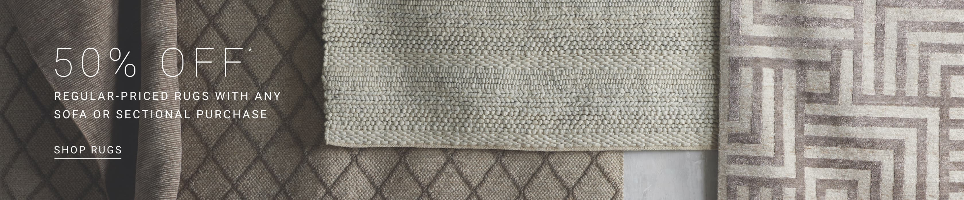 Save 50% on Rugs with the purchase of a sofa or sectional