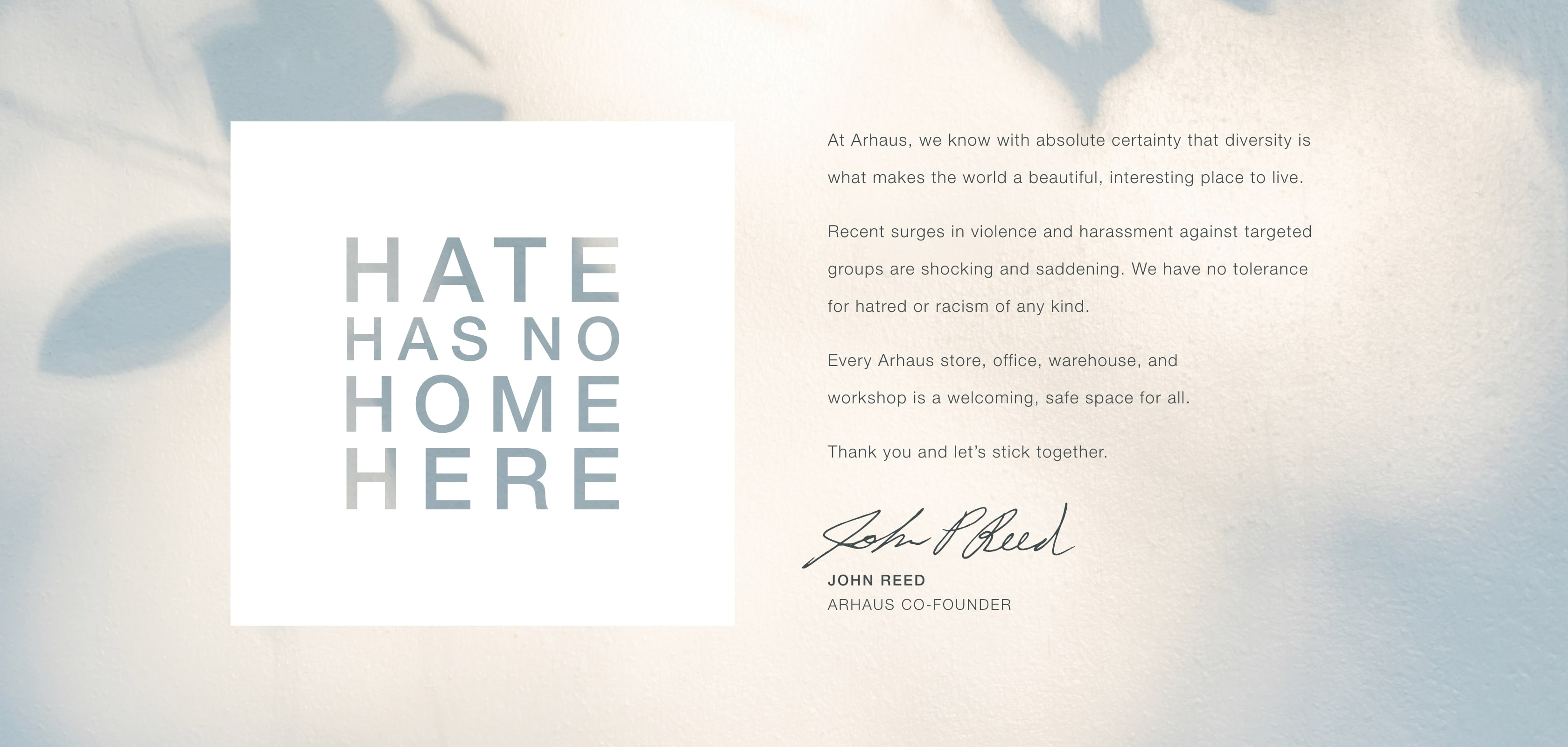 Hate Has No Home Here - Arhaus is committed to being a safe and welcoming space for all