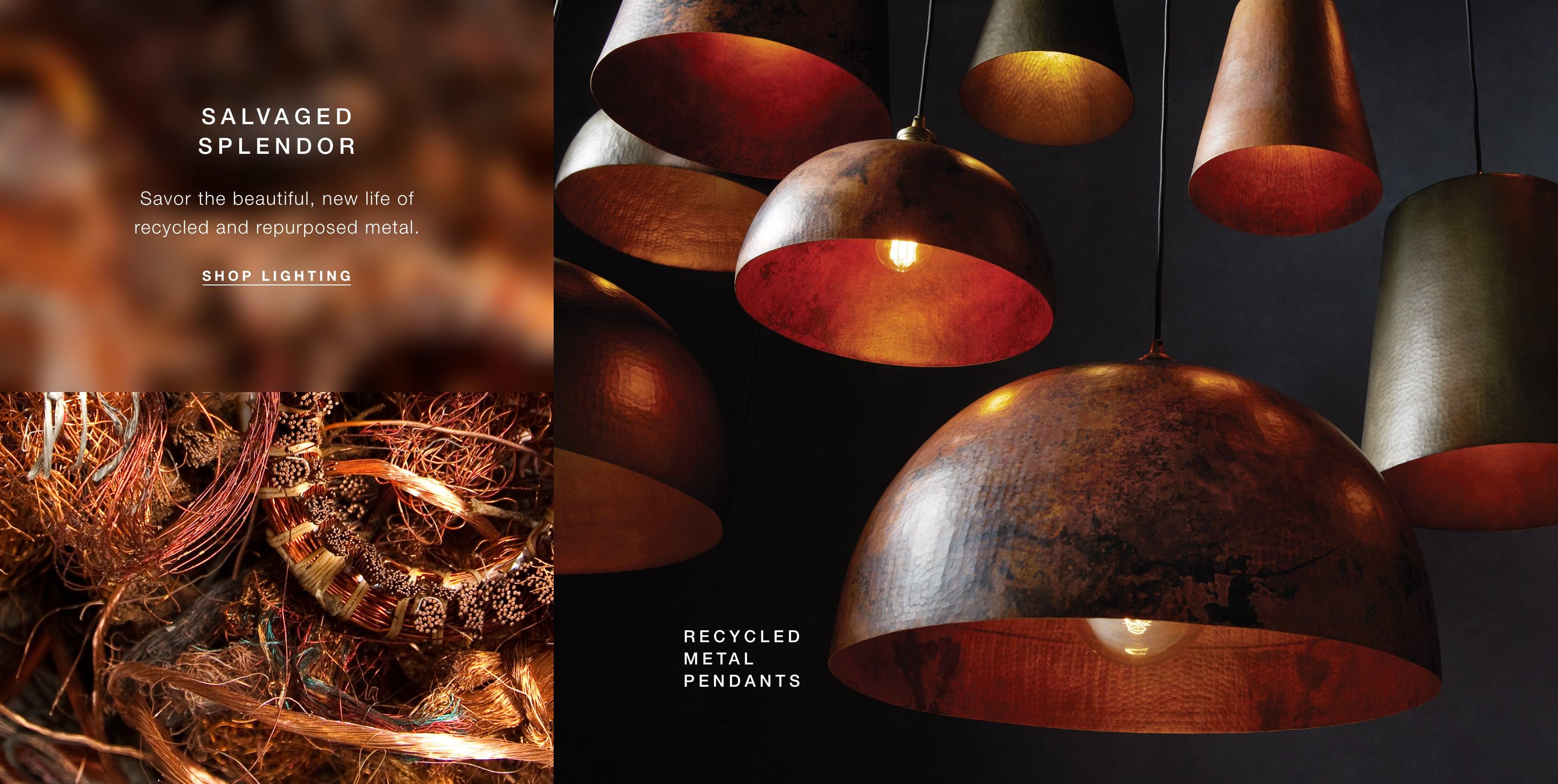 Shop Lighting, Including Recycled Metal Pendants