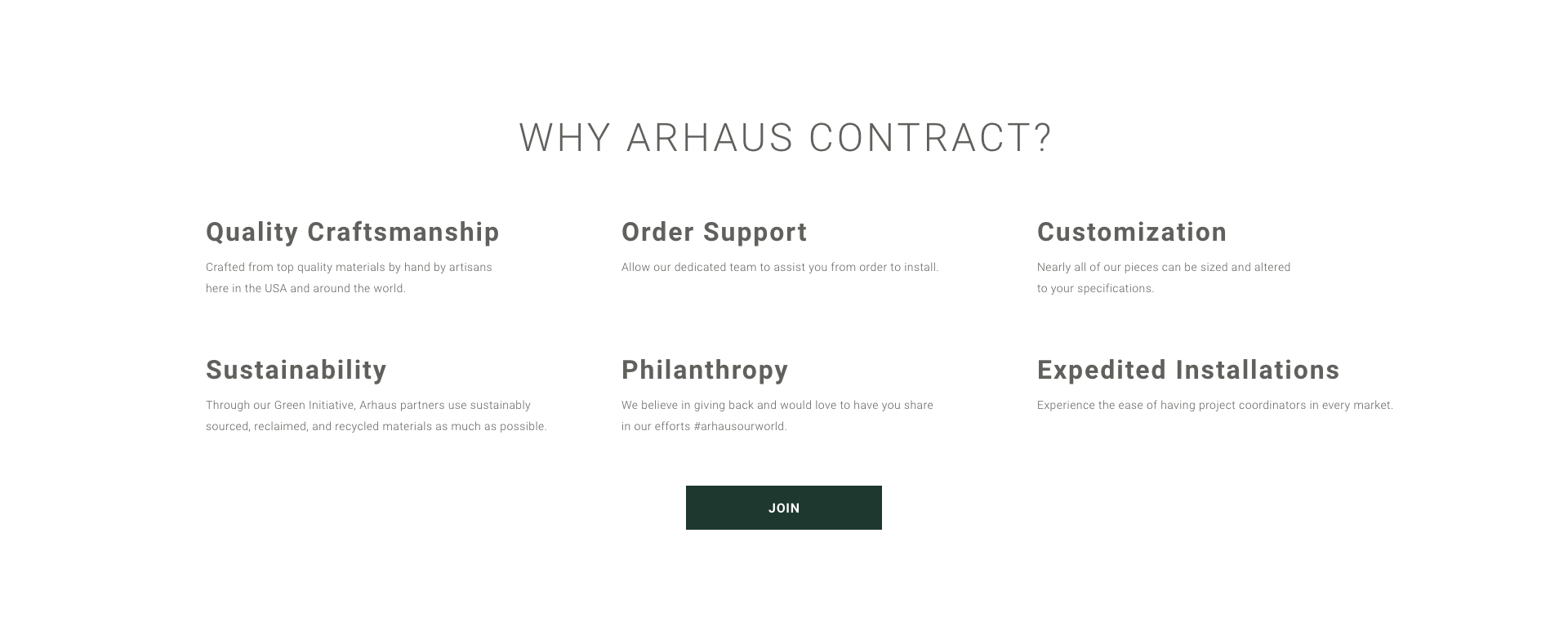 Why Arhaus Contract? Quality Craftsmanship, Sustainability, and Enhanced Support