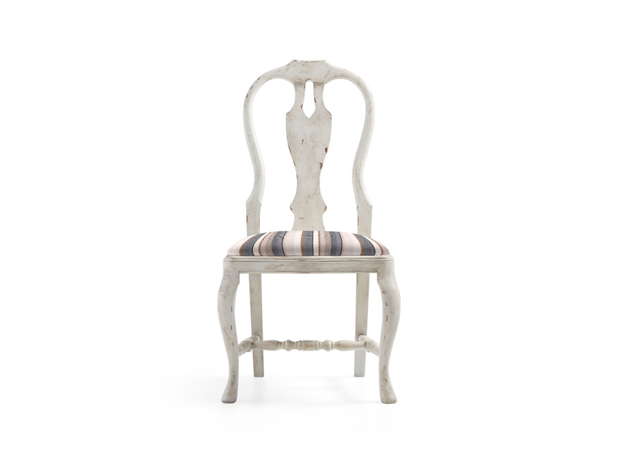 """Regina 22"""" Bell'Arte Dining Side Chair with Upholstered Seat in Antico Bianco"""