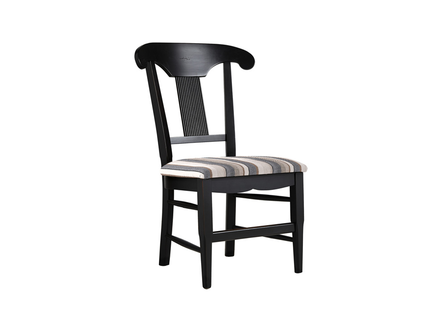 "Tuscany 25"" Dining Side Chair with Upholstered Seat in Rubbed Black, slide 1 of 5"