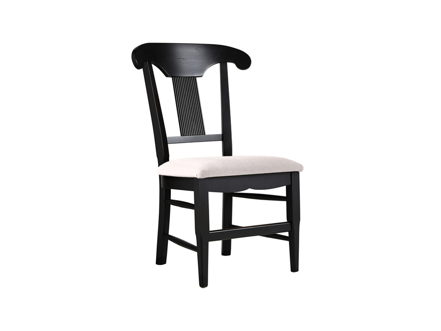 """Tuscany 25"""" Dining Side Chair with Upholstered Seat in Rubbed Black, slide 1 of 5"""