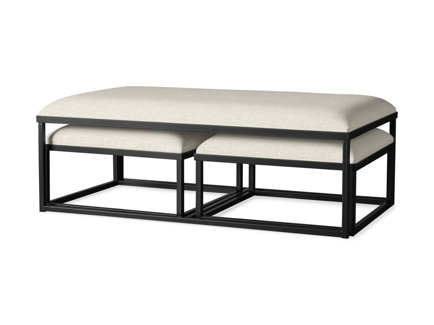 "Palmer Upholstered 53"" Rectangle Nesting Coffee Table in Black Base, slide 1 of 5"