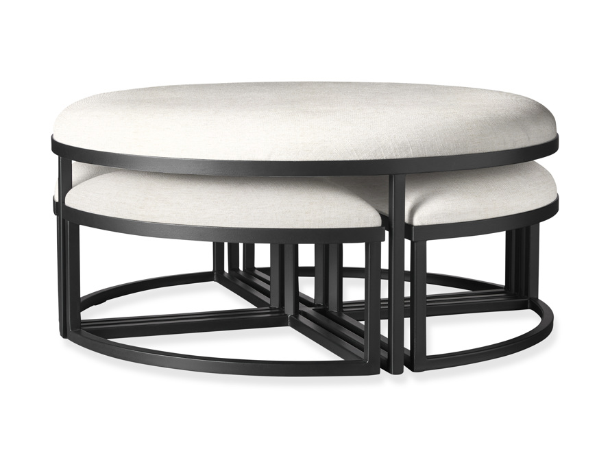 """Palmer Upholstered 42"""" Round Nesting Coffee Table in Black Base, slide 1 of 6"""
