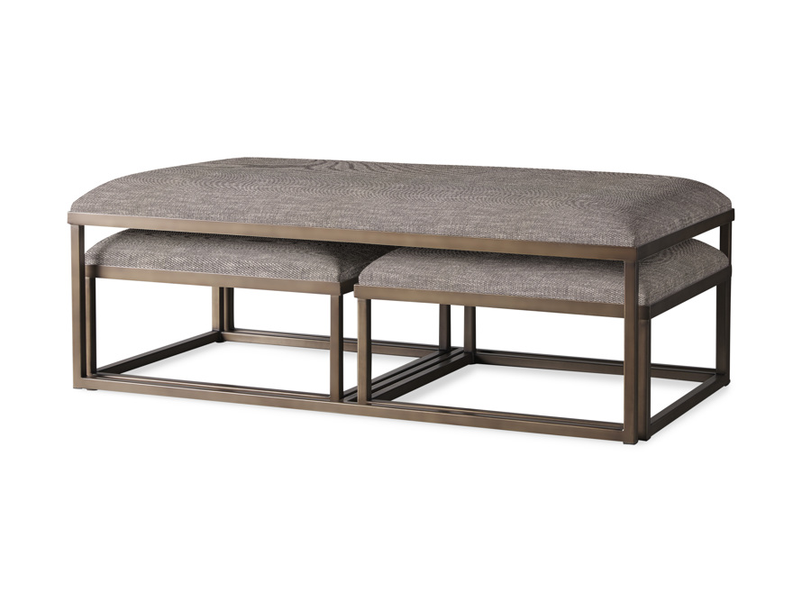 """Palmer Upholstered 53"""" Rectangle Nesting Coffee Table in Antique Brass, slide 1 of 5"""