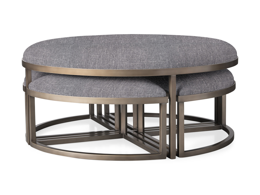 """Palmer Upholstered 42"""" Round Nesting Coffee Table in Antique Brass, slide 1 of 6"""