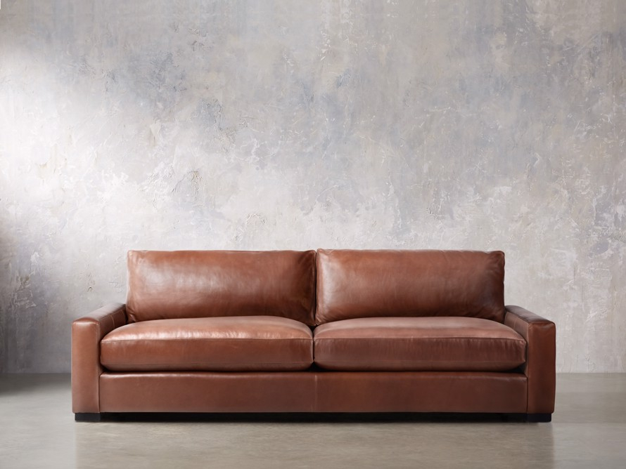 "Remington Deep Leather 108"" Sofa, slide 1 of 8"