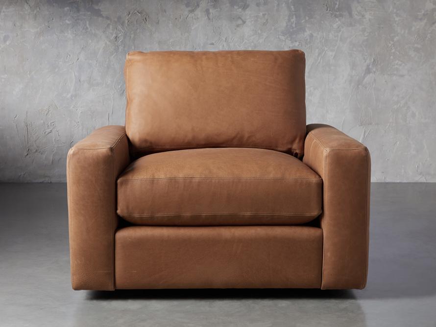 "Remington Petite Leather 42"" Swivel Chair, slide 1 of 8"