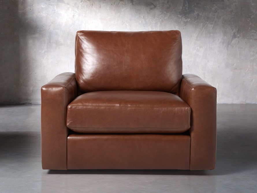 "Remington Petite Leather 42"" Swivel Chair, slide 1 of 8"