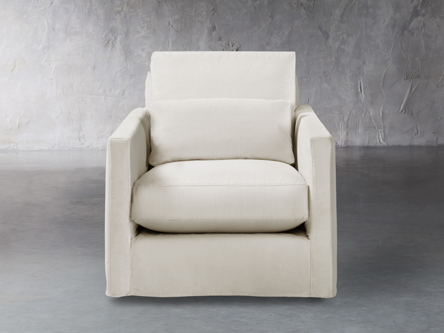 "Pollack 37"" Slipcovered Swivel Chair, slide 1 of 6"