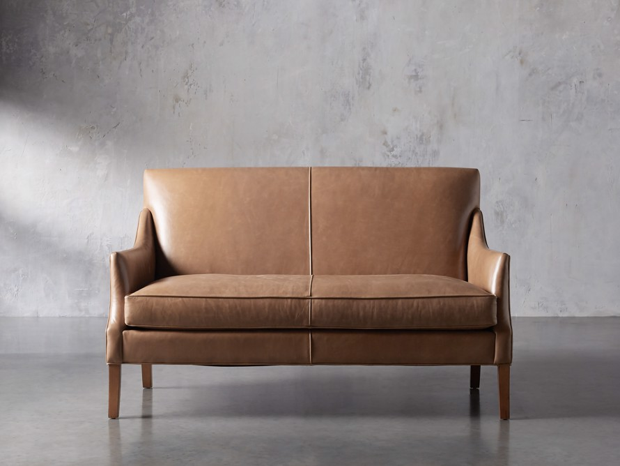 "Dori Leather 61"" Settee, slide 1 of 10"