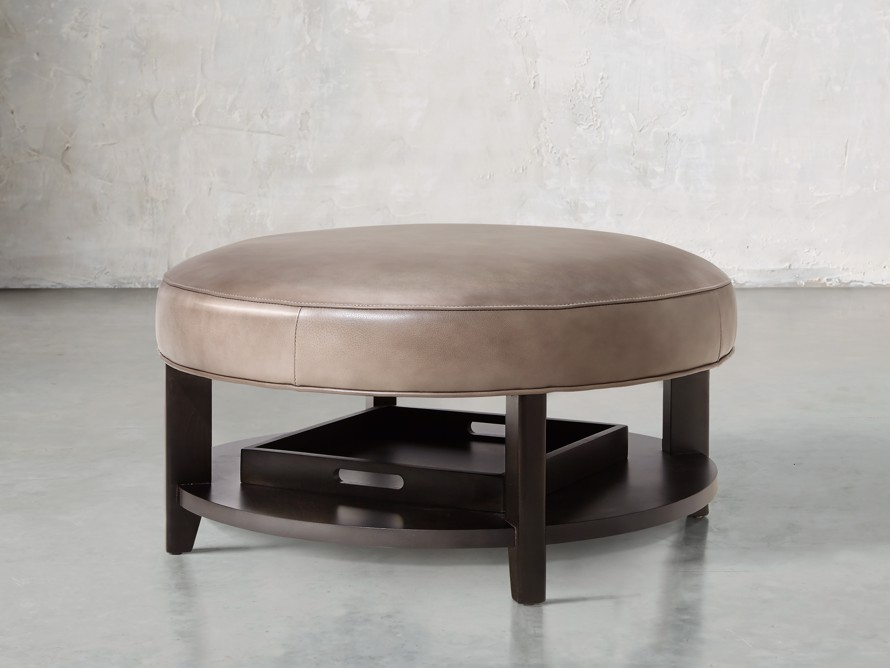 """Butler Leather 32"""" Non Tufted Round Ottoman, slide 1 of 5"""