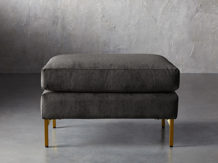 "Clarkson Brass Upholstered 28"" Ottoman, slide 1 of 4"