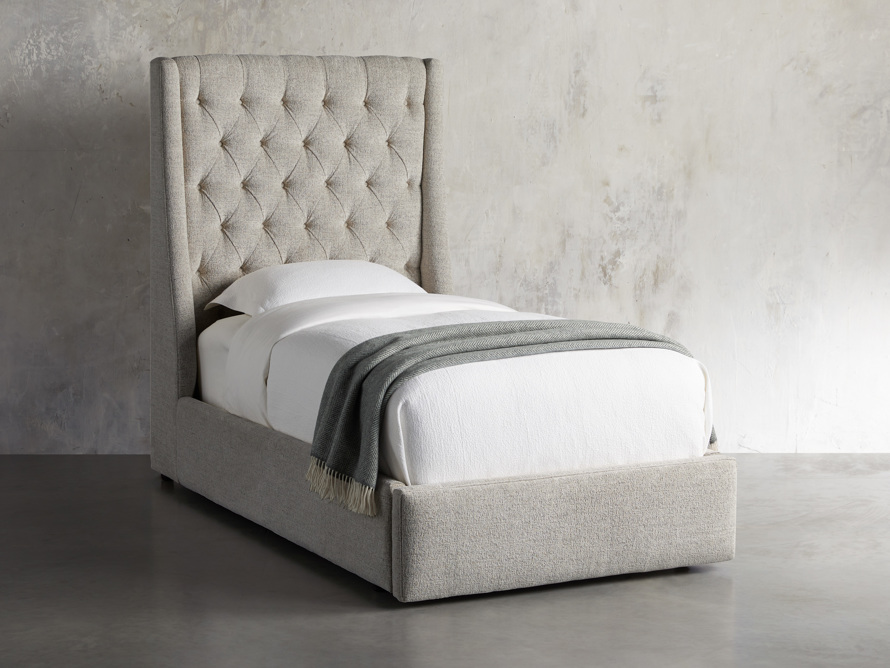 "Devereaux Upholstered 62"" Twin Storage Bed in Plush Linen, slide 1 of 9"