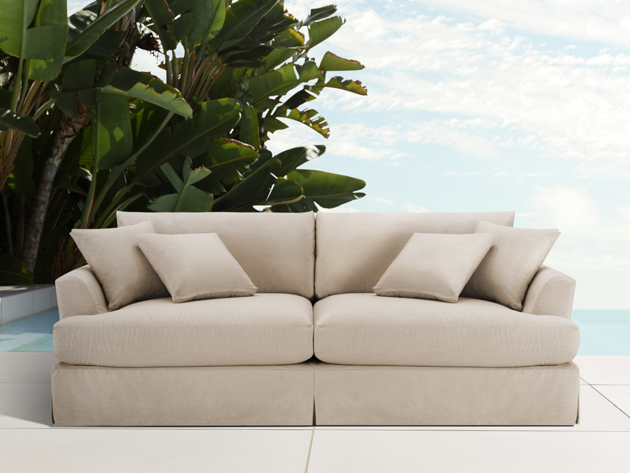 "Emory Outdoor 74"" Slipcovered Sofa, slide 1 of 2"