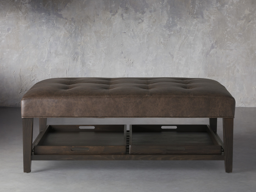 """Fletcher Leather Biscuit Tufted 47"""" Rectangle Ottoman, slide 1 of 6"""
