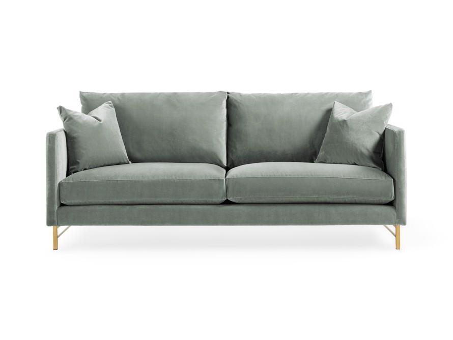 "Hayden 88"" Upholstered Satin Brass Sofa"