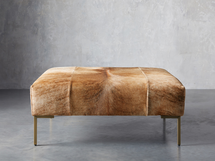 "Tilton Leather 40"" Ottoman in Blonde Brindle Hair on Hide, slide 1 of 5"