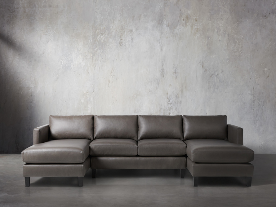 "Taylor 118"" Leather Three Piece Sectional"