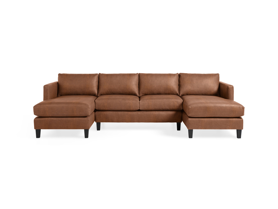 "Taylor 118"" Leather Three Piece Sectional, slide 1 of 5"