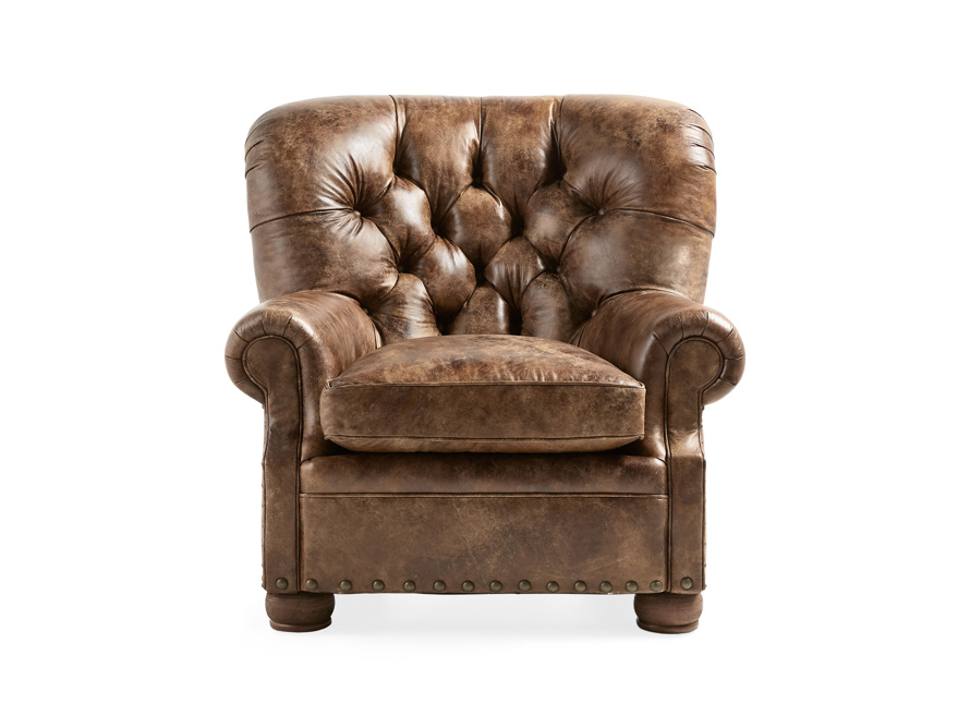 "Beacon 41"" Leather Tufted Chair, slide 1 of 7"
