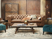 """Wessex 109"""" Leather Tufted Sofa"""