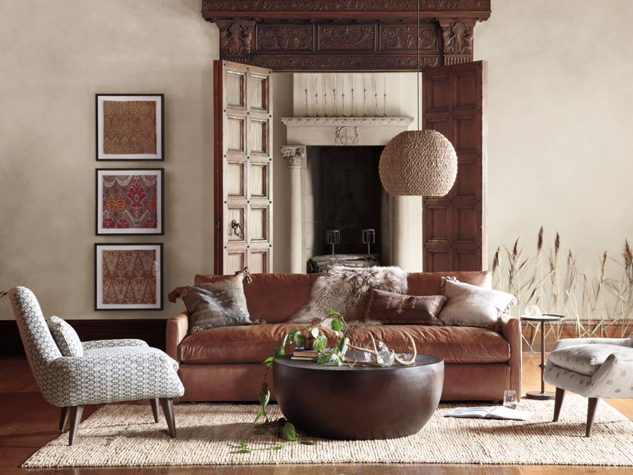 "Kipton Leather 94"" Sofa, slide 1 of 10"