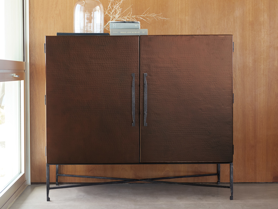 """Cahlo 50"""" Bar Cabinet in Copper"""