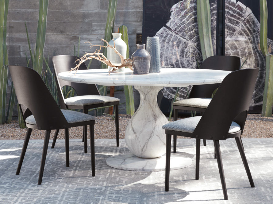 "Castello 48"" Round Bell'Arte Dining Table in Marmo Bianco, slide 1 of 5"