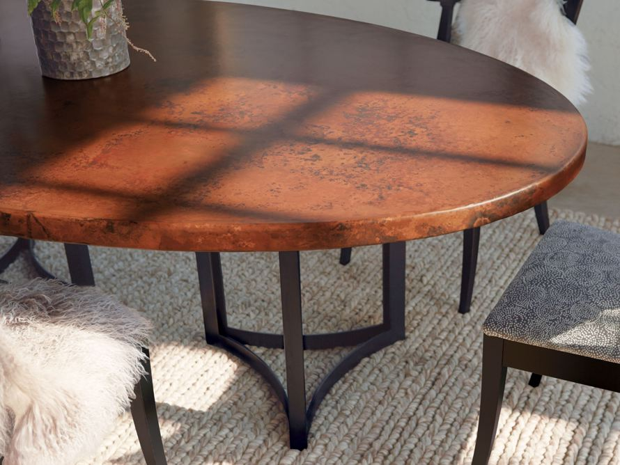 "77"" x 44"" Copper Table with Lyon Base in Black, slide 10 of 10"