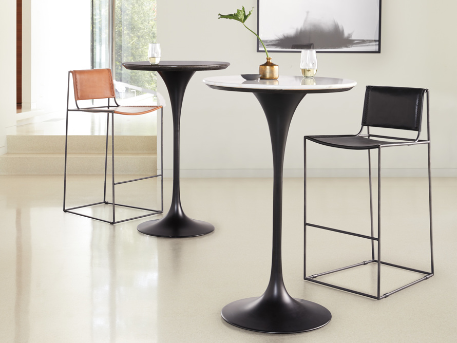 """Enzo 28"""" Round White Marble Bar Table, slide 9 of 10"""