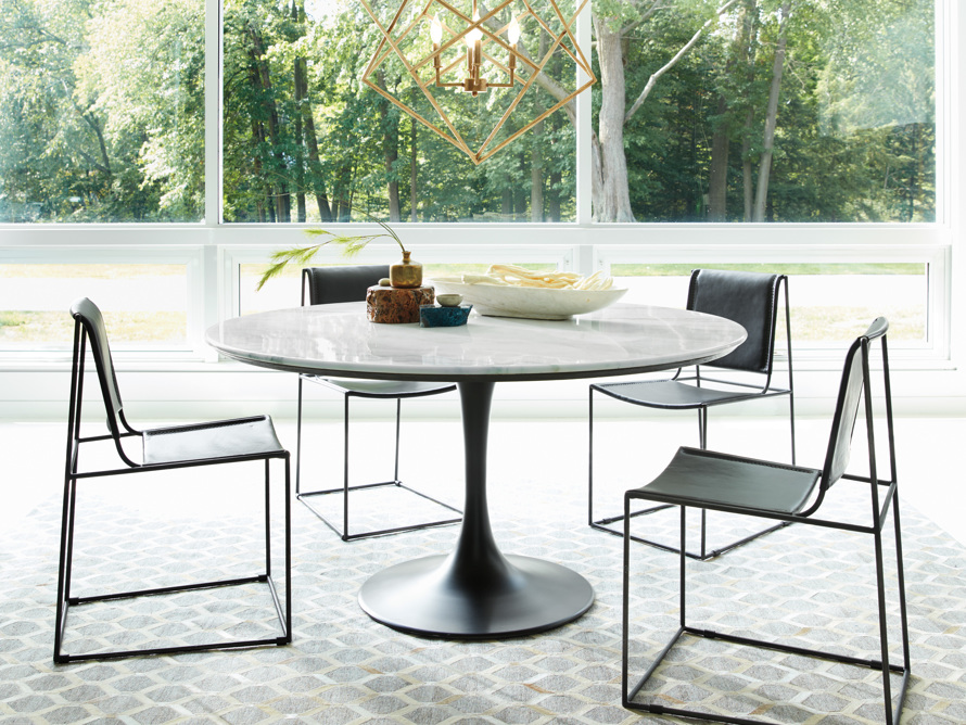 "Enzo 39"" Round White Marble Dining Table, slide 4 of 9"