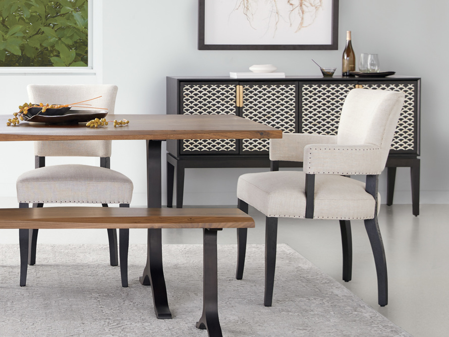Fallyn Dining Arm Chair in Linen Natural, slide 1 of 10