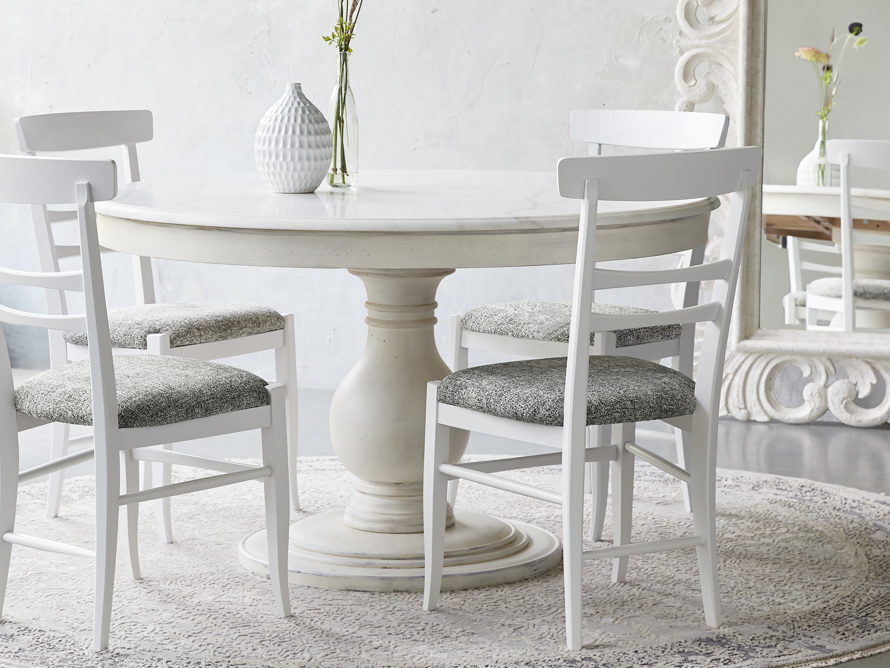 "Luca 54"" Round Dining Table with White Marble Top in Rustic Grey"