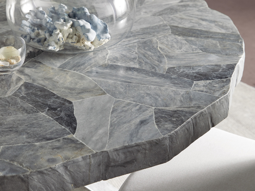 """Petra 54"""" Round Grey Marble Dining Table, slide 10 of 10"""
