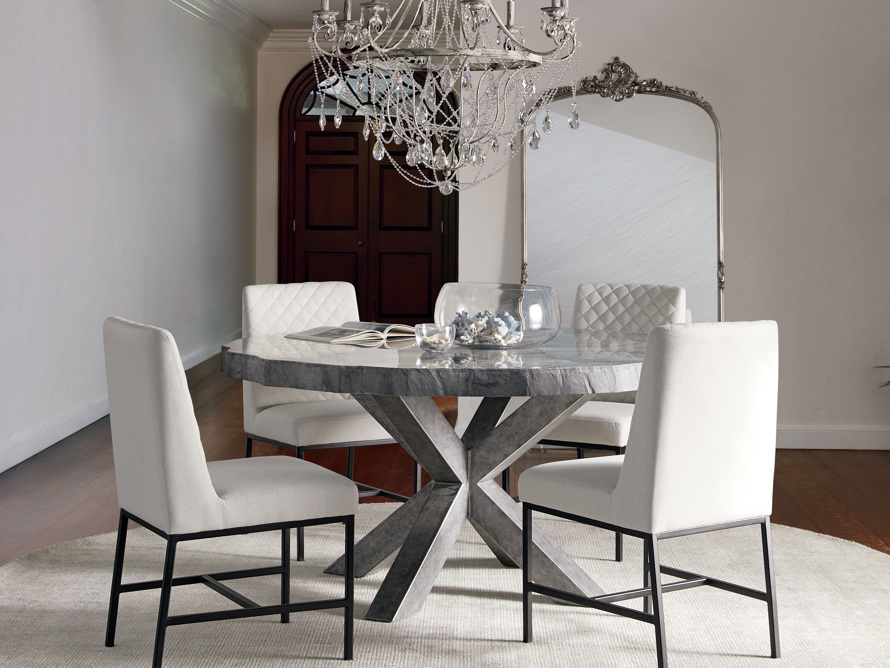 """Petra 72"""" Round Grey Marble Dining Table, slide 1 of 10"""