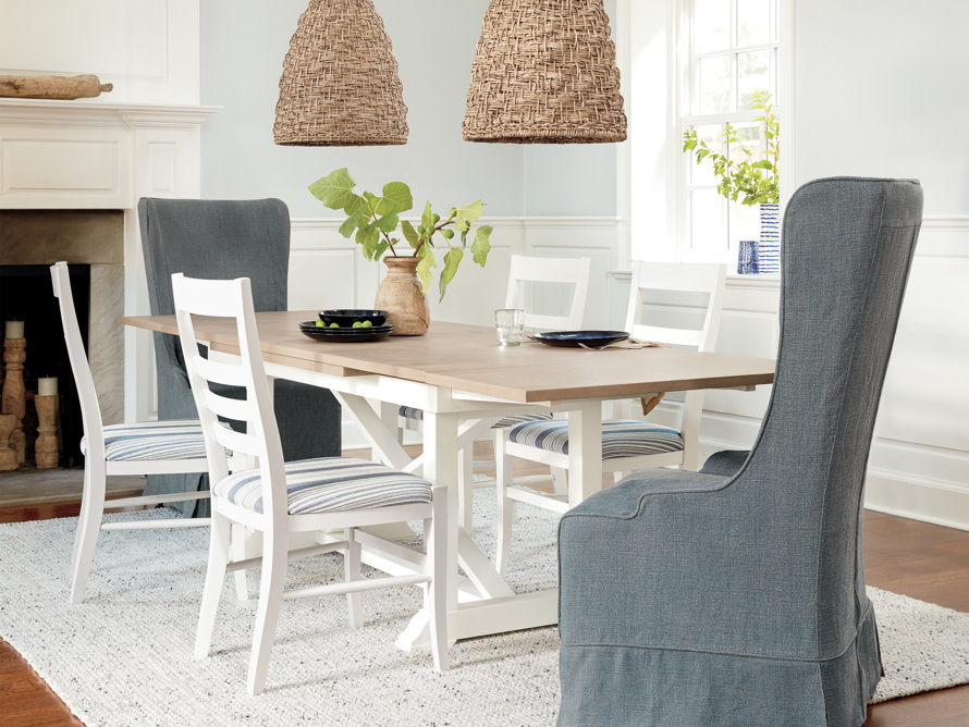 "Tavola 74"" Refectory Dining Table in Ombra Oak and All White, slide 1 of 10"