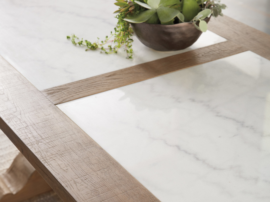 """Wilhelm 72"""" Natural Weathered and White Marble Extension Dining Table with Natural Weathered Base, slide 7 of 14"""