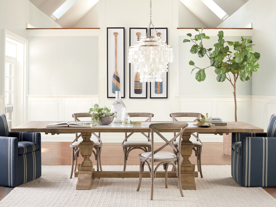 """Wilhelm 72"""" Natural Weathered and White Marble Extension Dining Table with Natural Weathered Base, slide 1 of 14"""