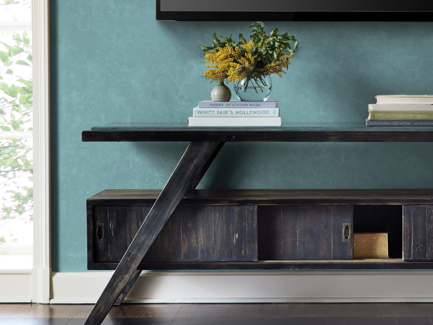"A-Frame 70"" TV Console in Barnwood Black"