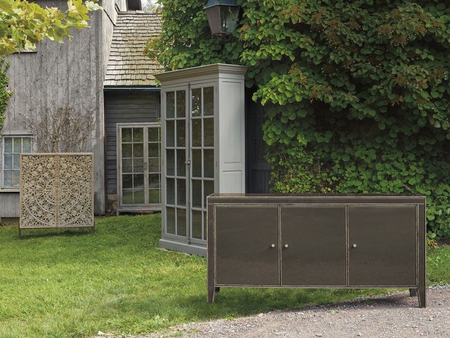 """Chorus Theory 54"""" Cabinet with Glass Doors in Rustic Black"""