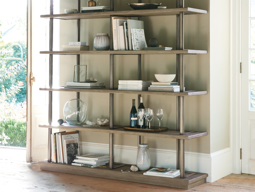 "Madison 70"" Double Bookcase in Stone on Ash, slide 6 of 7"