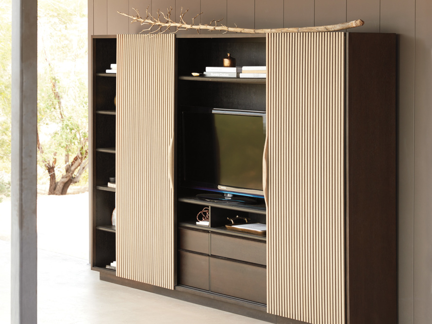 "Newton 127"" Wall Unit with Oak Doors, slide 10 of 10"