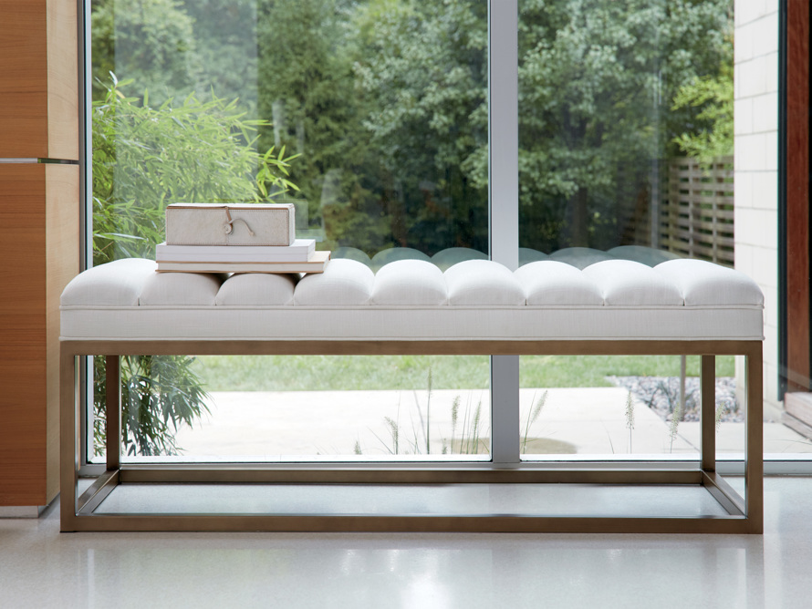 "Edie 55"" Bench in Devere Ivory and Brass, slide 1 of 7"