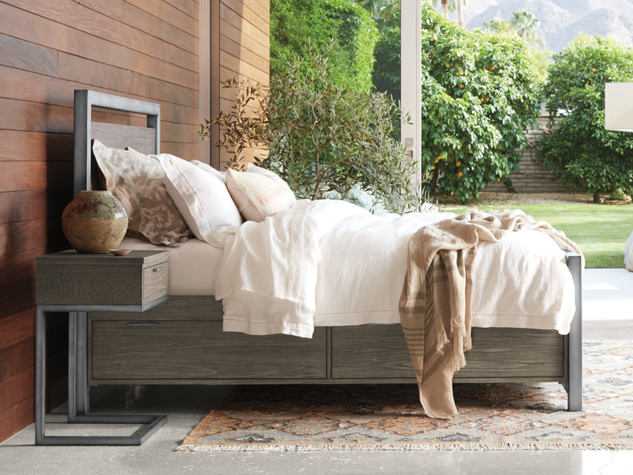 """Palmer 54"""" Storage King Bed in Stone on Ash"""