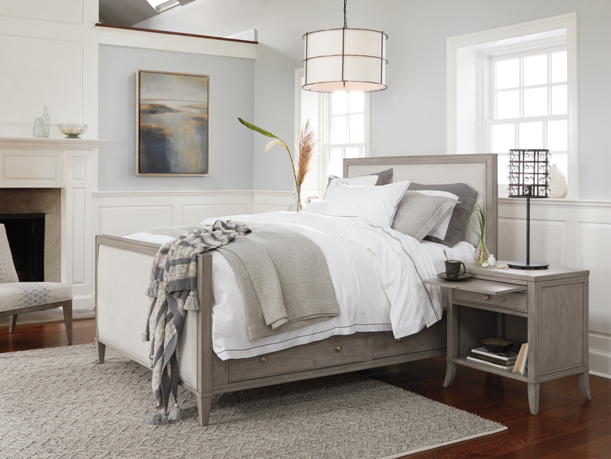 """Pearson Upholstered 57"""" King Gallery Storage Bed in London Fog, slide 8 of 9"""