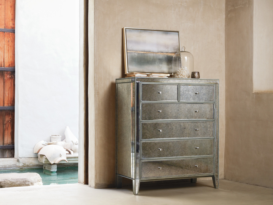 Reese Antique Mirrored Tall Chest
