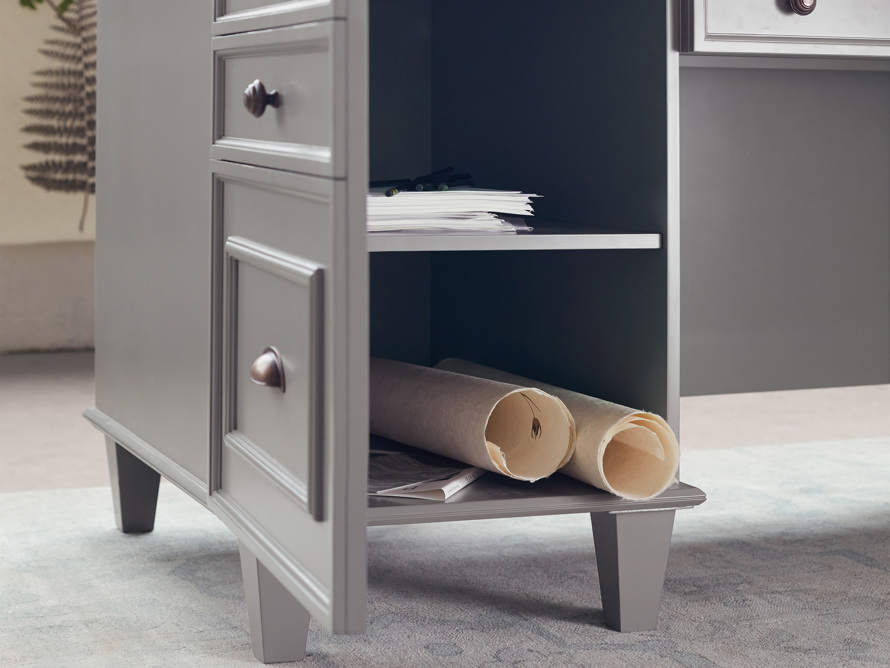 Alderson Executive Desk in Stratus and Chatham Grey